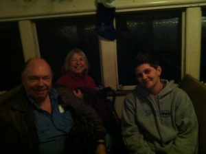 My mom, dad, and sister on the train