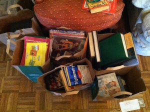 These are the books I'm taking home. There were about 20 other bags & boxes that I didn't take home, but did dig through.