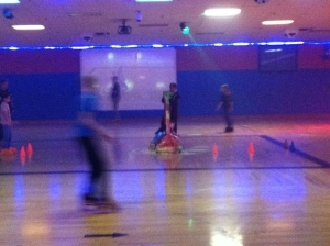 David is a blur on roller skates, too