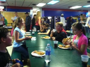 Lunch with friends at the roller rink