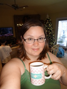 Using my new coffee mug from the boys (and the school's holiday store)
