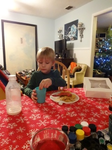 Hanging out with Asher and eating Christmas goodies
