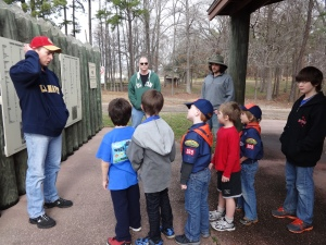 Nick starts his lecture on Camp Ford while the Tiger Cubs and their families listen intently.