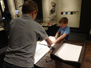 At the Magna Carta exhibit, there were many good things for the kids to do hands on.