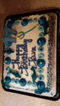 The birthday cake...made by Wal-Mart, embellished by yours truly