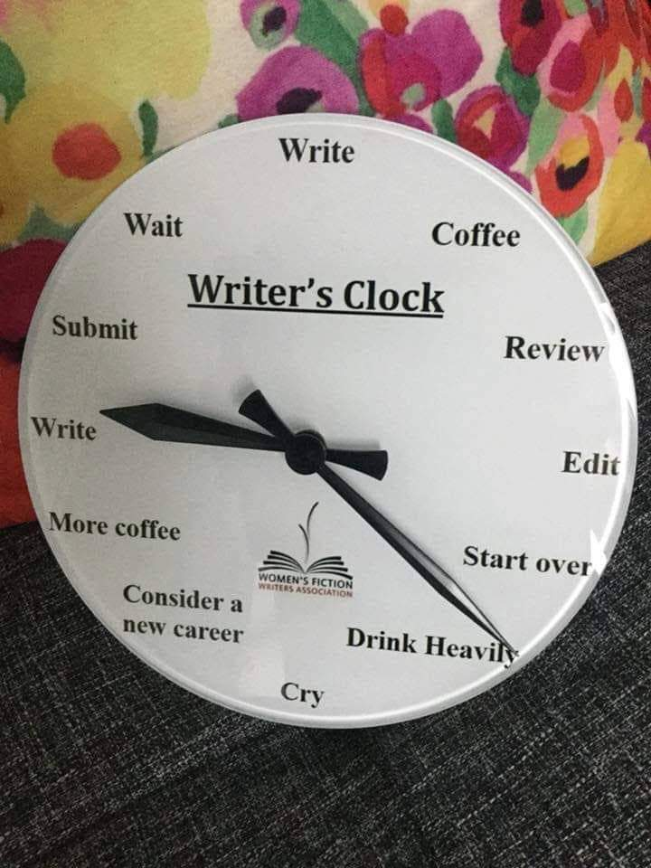 "Clock with the phrase ""Writer's Clock on it"" with ""Write"" at 12, ""Coffee"" at 1, ""Review"" at 2, ""Edit"" at 3, ""Start over"" at 4, ""Drink Heavily"" at 5, ""Cry"" at 6, ""Consider a new career"" at 7, ""More coffee"" at 8, ""Write"" at 9, ""Submit"" at 10, and ""Wait"" at 11."